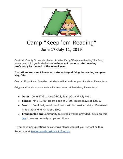 Information about Summer Reading Camp
